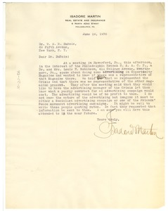 Thumbnail of Letter from Isadore Martin to W. E. B. Du Bois
