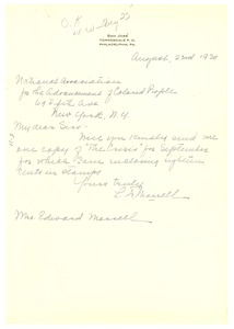Thumbnail of Letter from L. Morrell to the National Association for the Advancement of Colored People