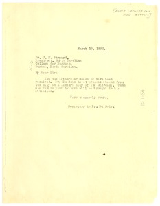 Thumbnail of Letter from Daisy Wilson to J. E. Shepard