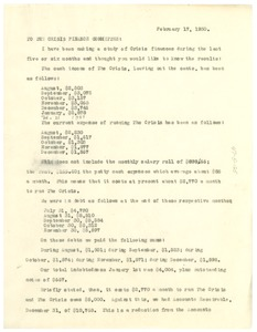 Thumbnail of Letter from W. E. B. Du Bois to the Crisis Finance Committee