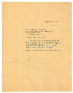 Thumbnail of Letter from W. E. B. Du Bois to Daisy E. Lampkin