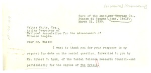 Thumbnail of Letter from Harvey Wickham to Walter White