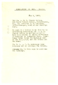 Thumbnail of Memorandum from unidentified correspondent to Leah Powell
