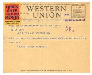 Thumbnail of Telegram from George Foster Peabody to Crisis
