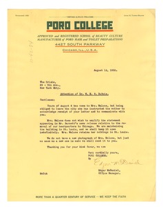 Thumbnail of Letter from Poro College to W. E. B. Du Bois