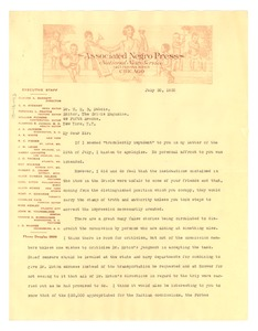 Thumbnail of Letter from P. L. Prattis to W. E. B. Du Bois