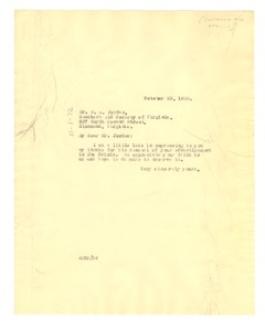 Thumbnail of Letter from W. E. B. Du Bois to Southern Aid Society of Virginia