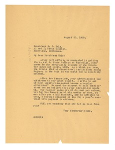 Thumbnail of Letter from W. E. B. Du Bois to Tennessee State A. & I. College