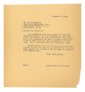 Thumbnail of Letter from W. E. B. Du Bois to Thurston's Cafeteria