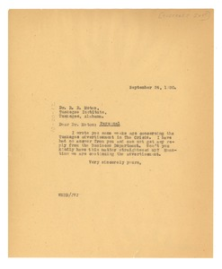 Thumbnail of Letter from W. E. B. Du Bois to Tuskegee Institute