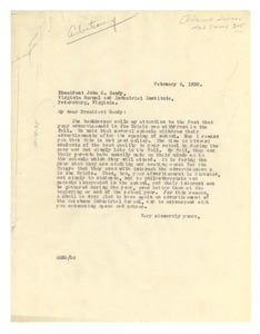 Thumbnail of Letter from W. E. B. Du Bois to Virginia Normal and Industrial Institute
