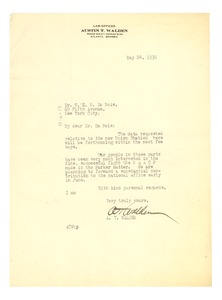 Thumbnail of Letter from A. T. Walden to W. E. B. Du Bois