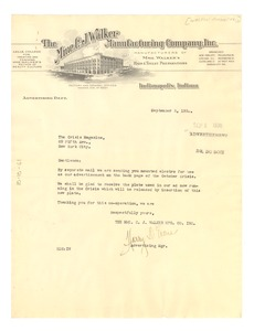 Thumbnail of Letter from Madam C.J. Walker Manufacturing Company to Crisis