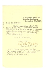 Thumbnail of Letter from Charles H. Wesley to W. E. B. Du Bois