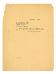 Thumbnail of Letter from W. E. B. Du Bois to Charles H. Wesley