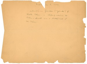 Thumbnail of Note on Walter Cohen