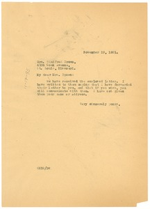 Thumbnail of Letter from W. E. B. Du Bois to Winifred Brown
