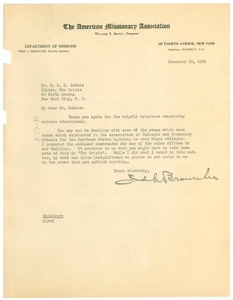 Thumbnail of Letter from Frederick L. Brownlee to W. E. B. Du Bois