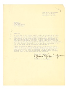 Thumbnail of Letter from Clarence M. Cunningham to Editor of the Crisis