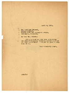 Thumbnail of Letter from W. E. B. Du Bois to Randolph Edmonds