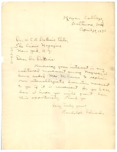 Thumbnail of Letter from Randolph Edmonds to W. E. B. Du Bois