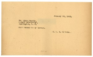 Thumbnail of Telegram from W. E. B. Du Bois to Abram Harris