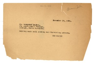 Thumbnail of Letter from the Crisis to Langston Hughes