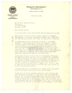 Thumbnail of Letter from V. D. Johnston to W. E. B. Du Bois