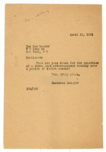 Thumbnail of Letter from Irene C. Malvan to the New Leader