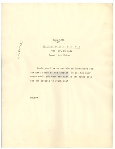 Thumbnail of Memorandum from Walter White to W. E. B. Du Bois