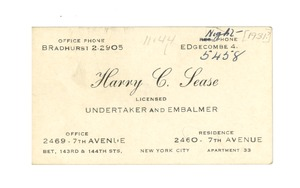Thumbnail of Business card of Harry C. Sease