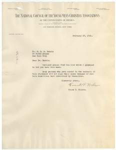 Thumbnail of Letter from Frank T. Wilson to W. E. B. Du Bois