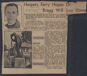 Thumbnail of Harpers Ferry hopes Dr. Bragg will stay home