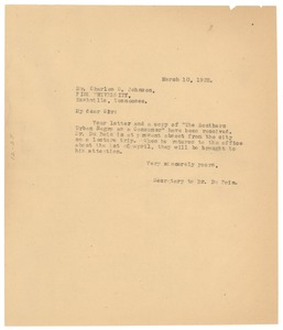 Thumbnail of Letter from Daisy Wilson to Charles S. Johnson