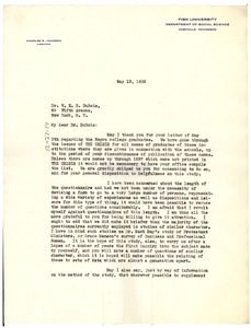 Thumbnail of Letter from Charles S. Johnson to W. E. B. Du Bois