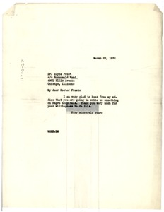 Thumbnail of Letter from W. E. B. Du Bois to Clyde D. Frost
