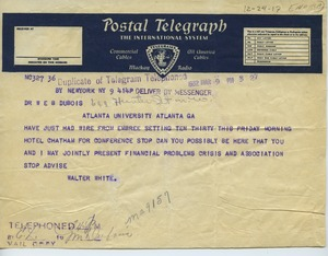 Thumbnail of Telegram from N.A.A.C.P. to W. E. B. Du Bois