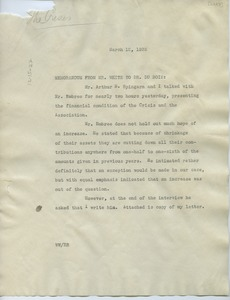 Thumbnail of Memorandum from N.A.A.C.P. to W. E. B. Du Bois