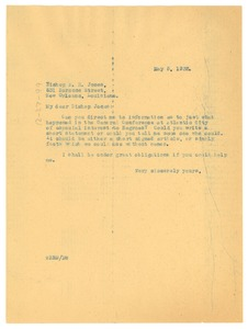 Thumbnail of Letter from W. E. B. Du Bois to Bishop R. E. Jones