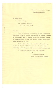 Thumbnail of Letter from Lincoln University to National Congress of British West Africa