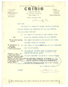 Thumbnail of Letter from Lincoln University to W. E. B. Du Bois