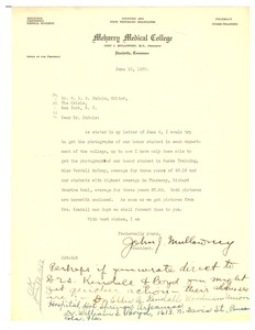 Thumbnail of Letter from Meharry Medical College to W. E. B. Du Bois