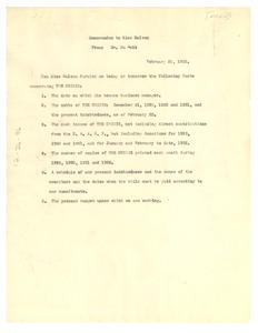 Thumbnail of Memorandum from W. E. B. Du Bois to Crisis