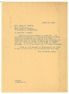 Thumbnail of Letter from W. E. B. Du Bois to Daisy S. Lampkin