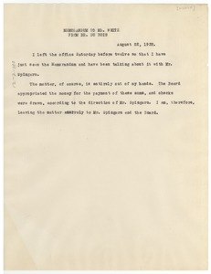 Thumbnail of Memorandum from W. E. B. Du Bois to N.A.A.C.P.