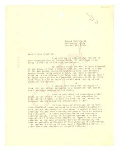 Thumbnail of Letter from Emmett Scott to George W. Crawford