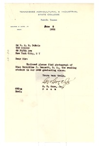 Thumbnail of Letter from George W. Gore to W. E. B. Du Bois