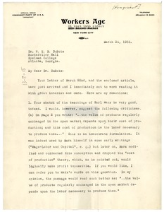 Thumbnail of Letter from Will Herberg to W. E. B. Du Bois