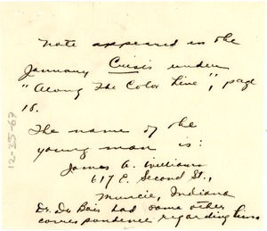 Thumbnail of address of James A. Williams