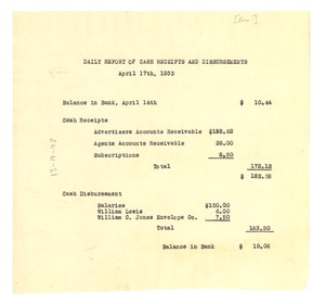 Thumbnail of Daily report of cash receipts and disbursements